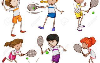33864786-Un-gruppo-di-bambini-che-giocano-a-tennis-su-uno-sfondo-bianco-Archivio-Fotografico